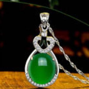 Natural Emerald & Diamond Wedding Party Silver Pen